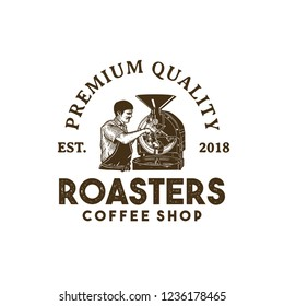 Classic Hand Drawing of People Roasting Coffee in Badge Logo Vector