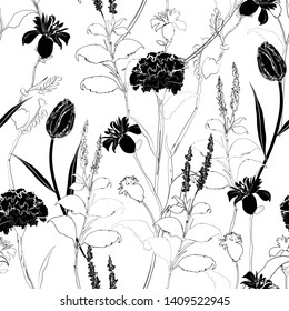Classic hand drawing sketch carnation black and white seamless pattern vector design for fashion,fabric,wallpaper,web and all prints