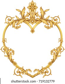 Classic hand painted gold shiny frame heart