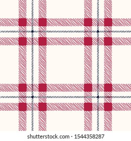 Classic Hand-Drawn Plaid Checks Blue and Red Plaid Checks on White Background Vector Seamless Pattern. Traditional Retro Textile Seamless Pattern Print Perfect for Fashion, Home decor, Stationery