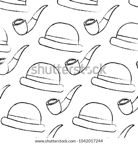 Classic Hat Tobacco Pipe Hipster Style Stock Vector Royalty Free