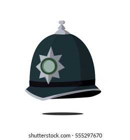 classic headdress Hiking constable, police in the UK. Icon, vector