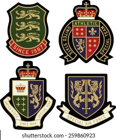classic heraldic royal emblem badge shield. Embroidery emblem patch template vector graphic.