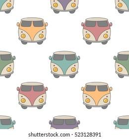 classic hippie vans in retro style seamless pattern.vintage vector illustration.