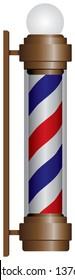 Classic historic barbershop symbol with lamp. Vector illustration.