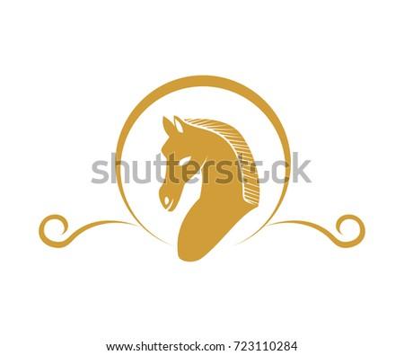 Classic Horse Symbol Logo Circle Gold Stock Vector Royalty Free