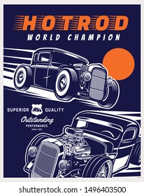 Classic hot rod poster in blue