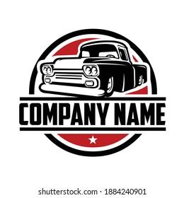 classic hotrod pickup truck logo template