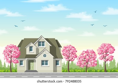 Classic house with flowering trees