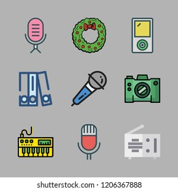 classic icon set. vector set about ipod, radio, piano and blinder icons set.
