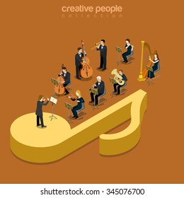 Classic instrumental orchestra concert flat 3d isometry isometric music show concert concept web vector illustration. Micro classical musician band playing on huge note. Creative people collection.