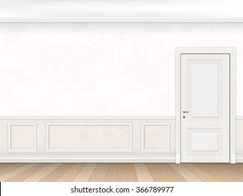 Classic interior in white color with door and wall panel. Realistic vector illustration of the interior.