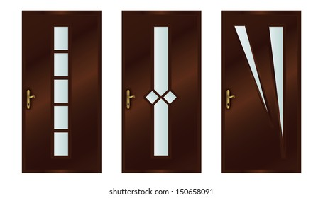 Classic interior wooden doors - realistic vector illustration - eps10