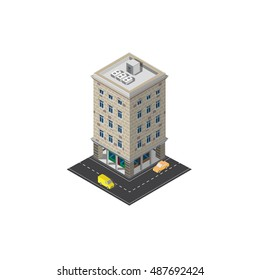 Classic Isometric building vector cars