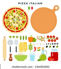 Classic Italian pizza and all ingredients for cooking it. Make your pizza. Set of products and tools for pizza making. Everything for dough, filling and sauce. Vector illustration in flat style.