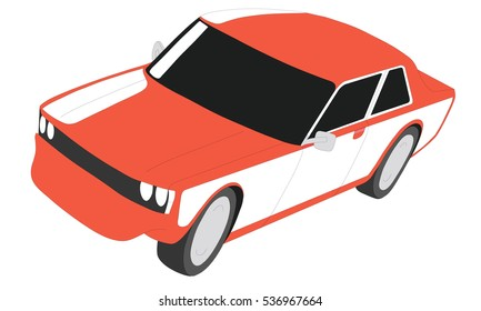 Classic japanese car red vector