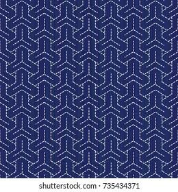 Classic japanese quilling. Bishamon-Kikko Sashiko motif. Seamless pattern. Abstract backdrop. Geometric background. Needlework texture. Pattern fills. For decoration or printing on fabric.
