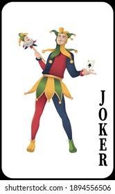 Classic Joker playing card - Vector illustration.