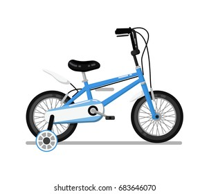 Classic kids bicycle icon. Pedal bike for boy or girl, children toy isolated vector illustration in flat design.