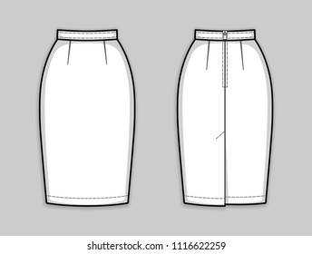 Classic knee-length pencil skirt with banded waist, back zip clasp, back kick pleat. Basic wardrobe essential. Back and front. Technical flat sketch, vector.
