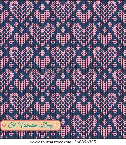 Classic Knitted Pattern Hearts Valentines Day Stock Vector Royalty