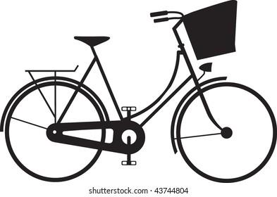 Classic ladies shopping bike silhouette