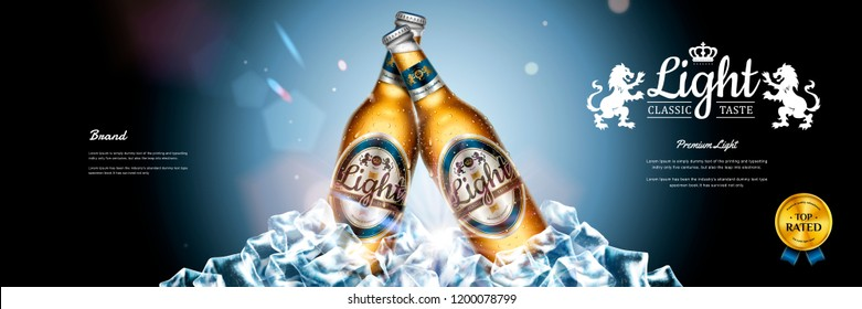 Classic lager beer banner ads with ice cubes elements in 3d illustration