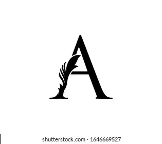 Classic A Letter Logo. Black Floral A With Classy Leaves Shape design perfect for Boutique, Jewelry, Beauty Salon, Cosmetics, Spa, Hotel and Restaurant Logo.