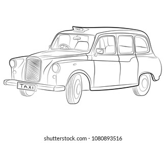 the classic london taxi car vector drawing illustration