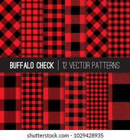Classic Lumberjack Red and Black Buffalo Check Plaid Vector Pixel Patterns. Flannel Shirt Textile Prints. Trendy Hipster Style Backgrounds. Repeating Pattern Tile Swatches Included.
