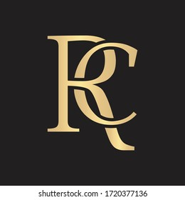 Classic Luxurious Clean Gold RC Initial Monogram Logo Concept Vector Bundles Set