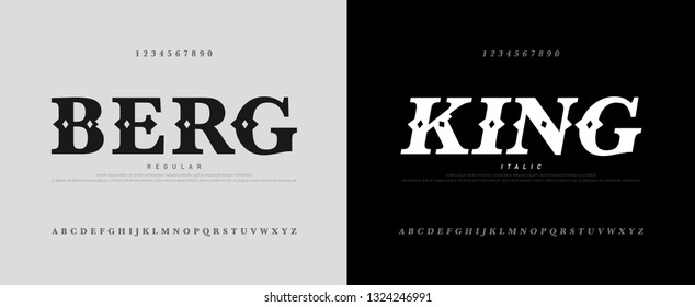 classic luxury alphabet logotype with royal font. Typography fonts letters uppercase and number. vector illustration
