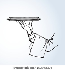 Classic luxury elegant male server palm give salver on white backdrop. Freehand outline black drawn picture order logo sign sketchy in retro art doodle cartoon graphic style pen on paper text spase