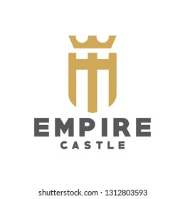 Classic and Luxury Logo for the Empire. castle or Kingdom Icons and Symbols. Modern Logo Crown Shield.