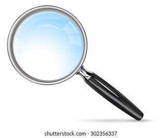 Classic Magnifying Glass. Vector EPS 10 magnifying glass. Blue lens effect.