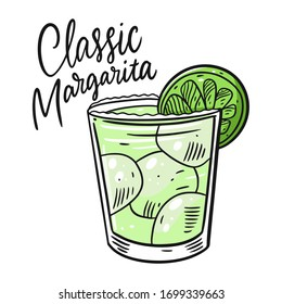 Classic Margarita. Colorful cartoon vector illustration. Isolated on white background.