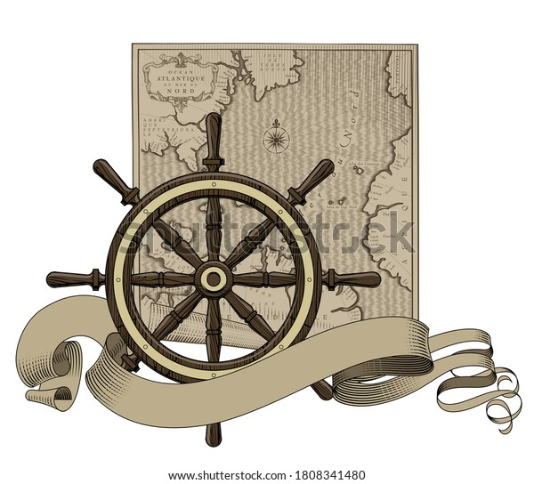 Classic marine round wood steering wheel with a Old geographic map and ribbon banner. Vintage color engraving stylized drawing. Vector Illustration