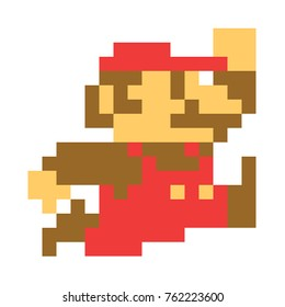 Classic Mario bros pixel art.  Mario character, video game franchise, created Nintendo