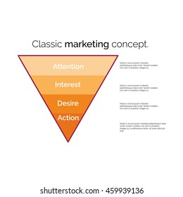 Classic marketing concept. Funnel symbol. Infographic or web design element. Template for marketing, conversion or sales. Colorful vector illustration.
