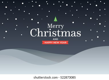 Classic Marry Christmas background with green three, snow, snowflakes and lettering. Material design Vector illustration