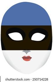 Classic mask with symbols of statehood of Estonia. Vector illustration