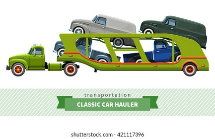 Classic medium duty car carrier truck side view. Vector isolated illustration