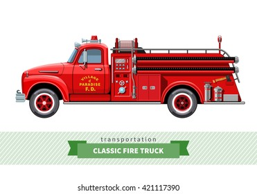 Classic medium duty fire truck side view. Vector isolated illustration