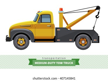 Classic medium duty tow truck side view. Vector isolated illustration