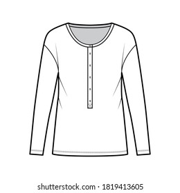 Classic men's style cotton-jersey top technical fashion illustration with long sleeves, scoop henley neckline. Flat outwear apparel shirt template front, white, color. Women, men, unisex CAD mockup