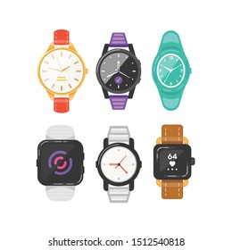 Classic men's and women's watches set of vector icons. Watch for businessman, smartwatch and fashion clocks collection.
