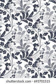 classic modern botanical floral silhouette print repeat pattern background wallpaper