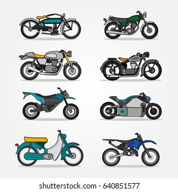 Classic and Modern of Motorcycles and Scooters icons set in flat style design. Vector illustrations of different type retro motor vehicles