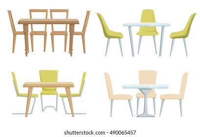 Classic and modern tables and chairs furniture for office, cafe, restoran, home kitchen interior scene design.