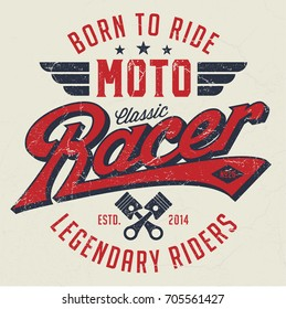 Classic Moto Racer - Tee Design For Print